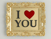 Antique gold frame labeled — Stock Photo