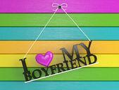 Renkli duvar etiketli - erkek arkadaşımı seviyorum — Stok fotoğraf