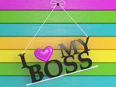 Parete in legno con etichettata - amo il mio capo — Foto Stock