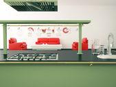 Wnętrze nowoczesne duża kuchnia — Zdjęcie stockowe