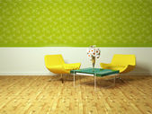 Bright interior design of modern living room — Stock Photo