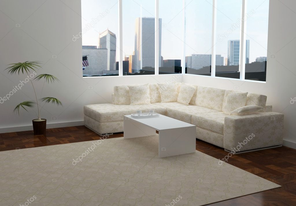 Design interior of elegance modern living room with beautiful view, brown sofa with table, 3d rendering — Stock Photo #7814062