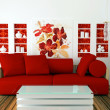 Interior design of white and red living room - Stock Photo
