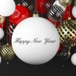 New Year background with balls and scrolls — Stock Photo