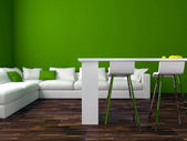 Interior design of modern green living room — Foto Stock