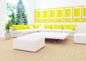 Interior design of modern white living room — Stock Photo