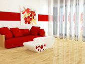 Interior design of white and red living room — Stock Photo