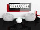 Design av interiör av vita vardagsrum — Stockfoto