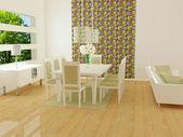 Interior design of modern white living room — Stock Photo