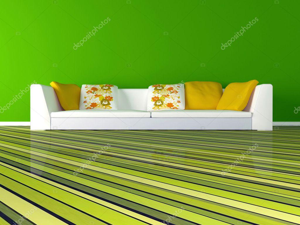 Design av interiör av moderna gröna vardagsrum — stockfotografi ...