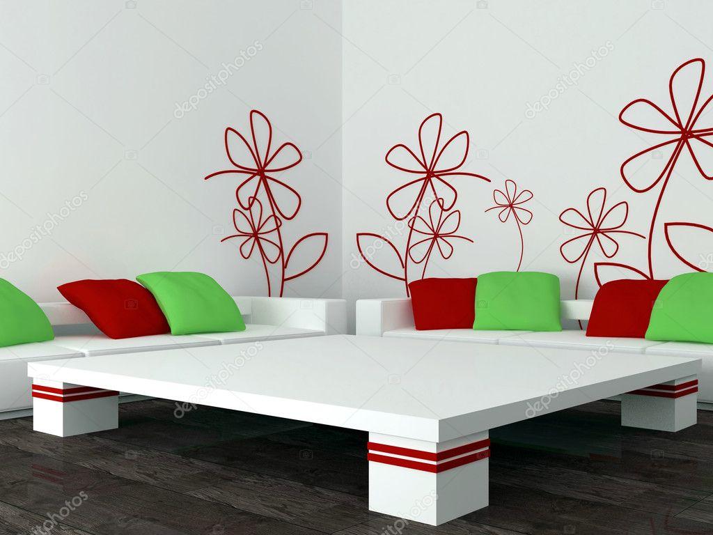 Inredning av moderna vita vardagsrum, lounge — Stockfotografi ...