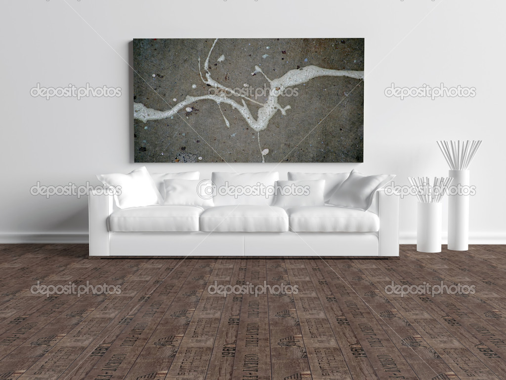 Interni moderni del bianco minimalista soggiorno, divano ...