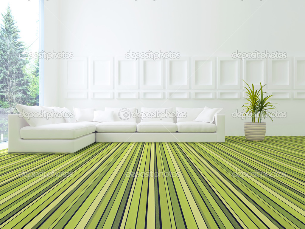 Décoration de salon moderne blanc et vert — Photographie kosheen ...