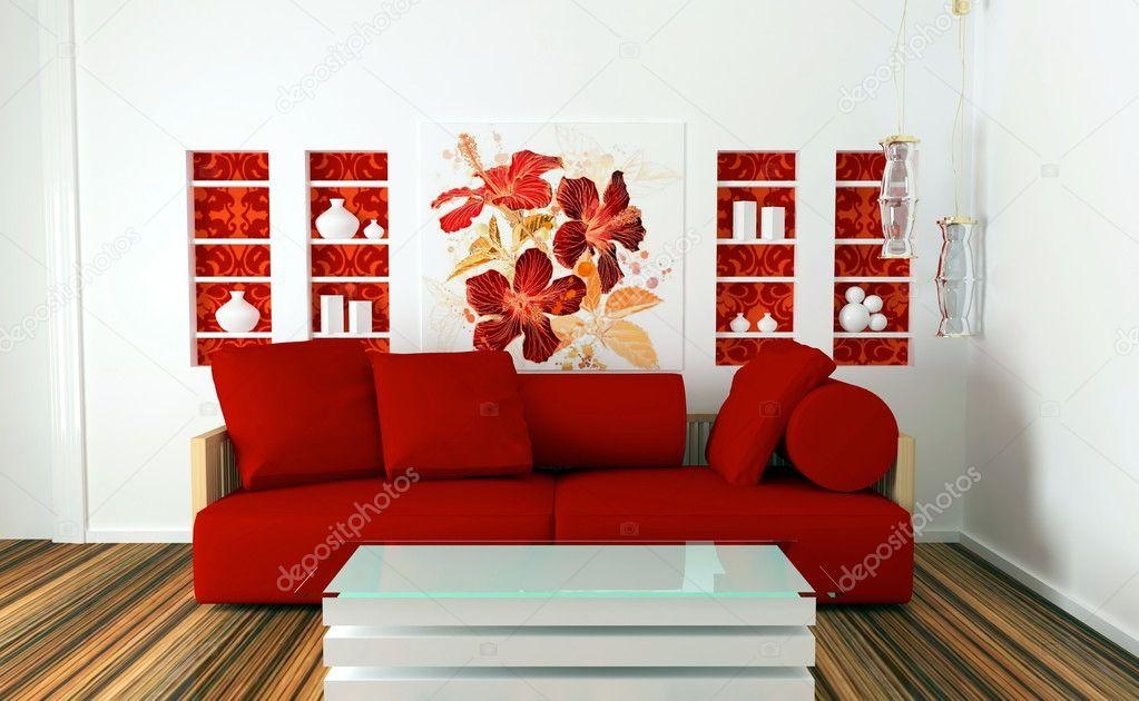 decorazioni pareti interior design : Salotto Con Decorazioni Floreali Su Parete Interior Design Interior