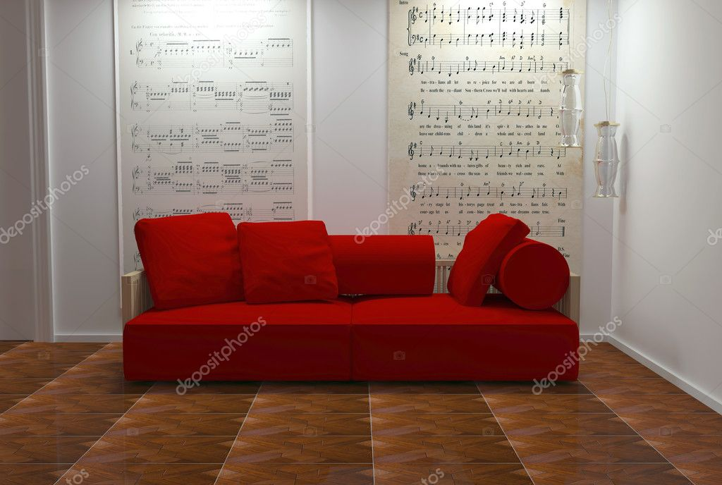 Interior Design Of White And Red Living Room Stock Photo