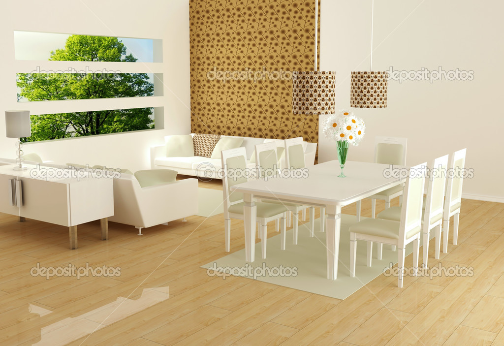 Layout Da Sala De Estar ~ Design de interiores da sala de estar moderna branca — Fotografias