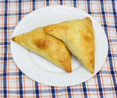 Two traditional South African Samoosa triangles filled with chic — Stock Photo