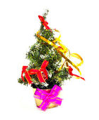 Decorated christmas fir tree isolated on white — Stockfoto