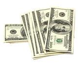 Pilha de dinheiro isolado no branco — Foto Stock