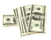 Stos pieniędzy na białym tle — Zdjęcie stockowe