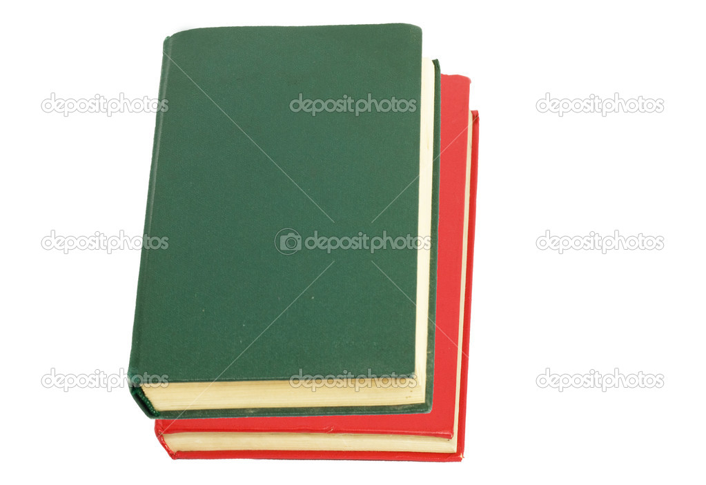 Green book and red book on white background  — Stock Photo #6864556