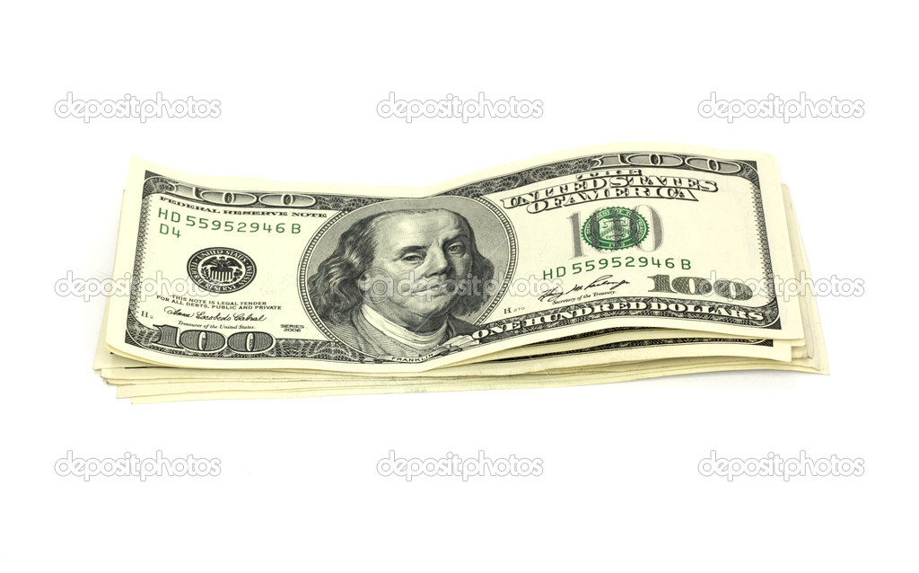 Stack of money isolated on white  — Stock Photo #6865044