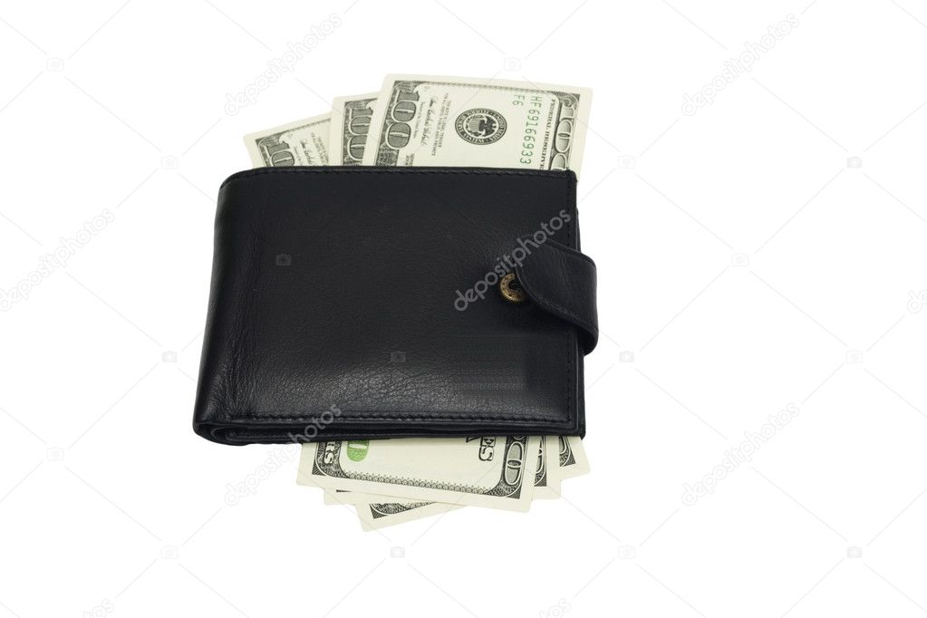 One black purse with the big pack of dollars   Stock Photo #6865577