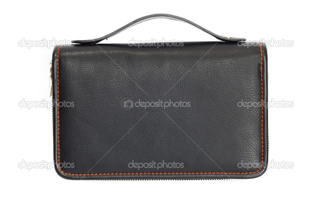 Black business briefcase isolated on white background. With clipping path. Front view.  — Stock Photo #6865740