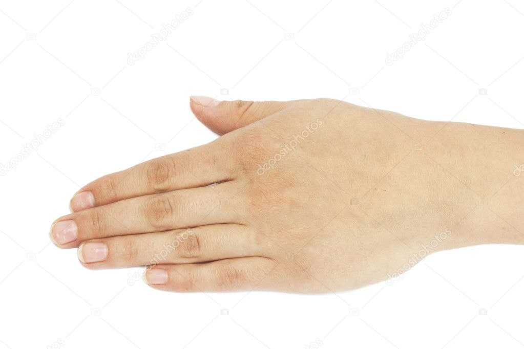 Hand on white background  — Stock Photo #6867038
