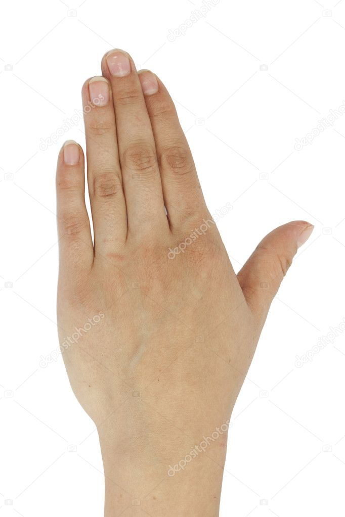 Hand on white background  — Stock Photo #6867293