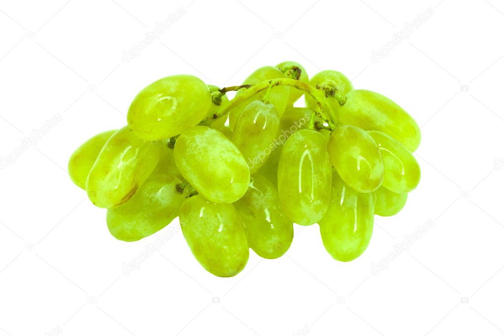 Fresh green grapes. Isolated on white  — Stock Photo #6867616