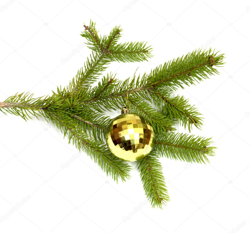 Xmas tree ball hanging on a Christmas tree branch, isolated  — Stock Photo #6867797