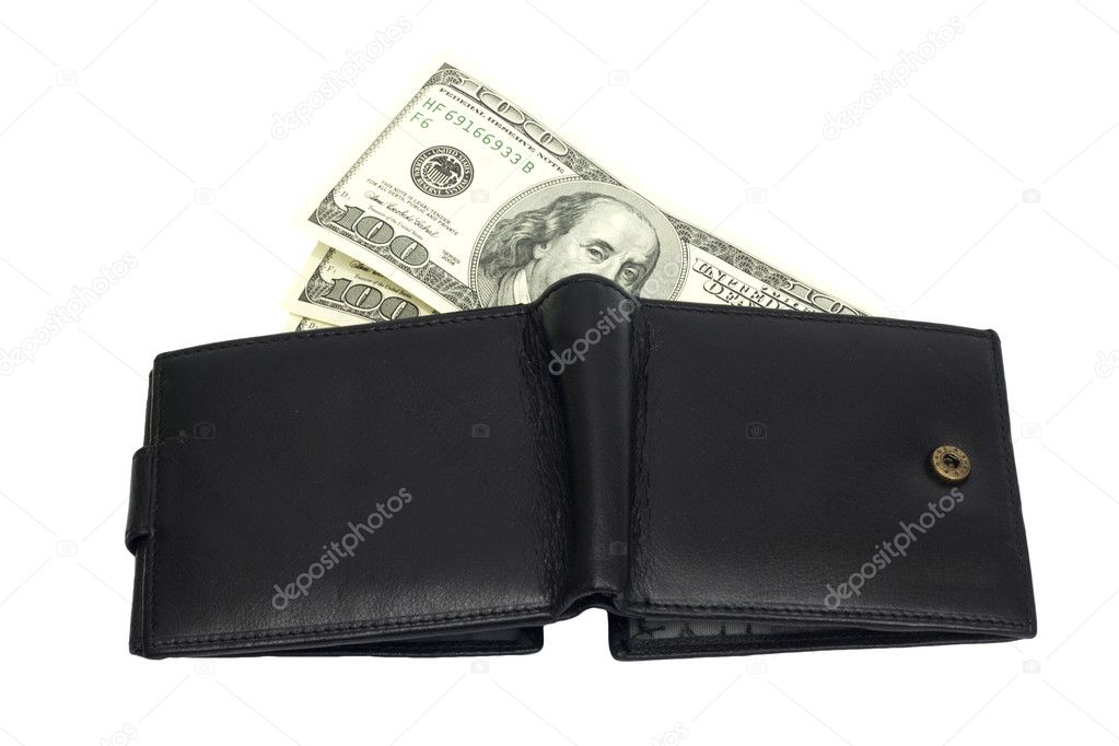 One black purse with the big pack of dollars   Stock Photo #6867846