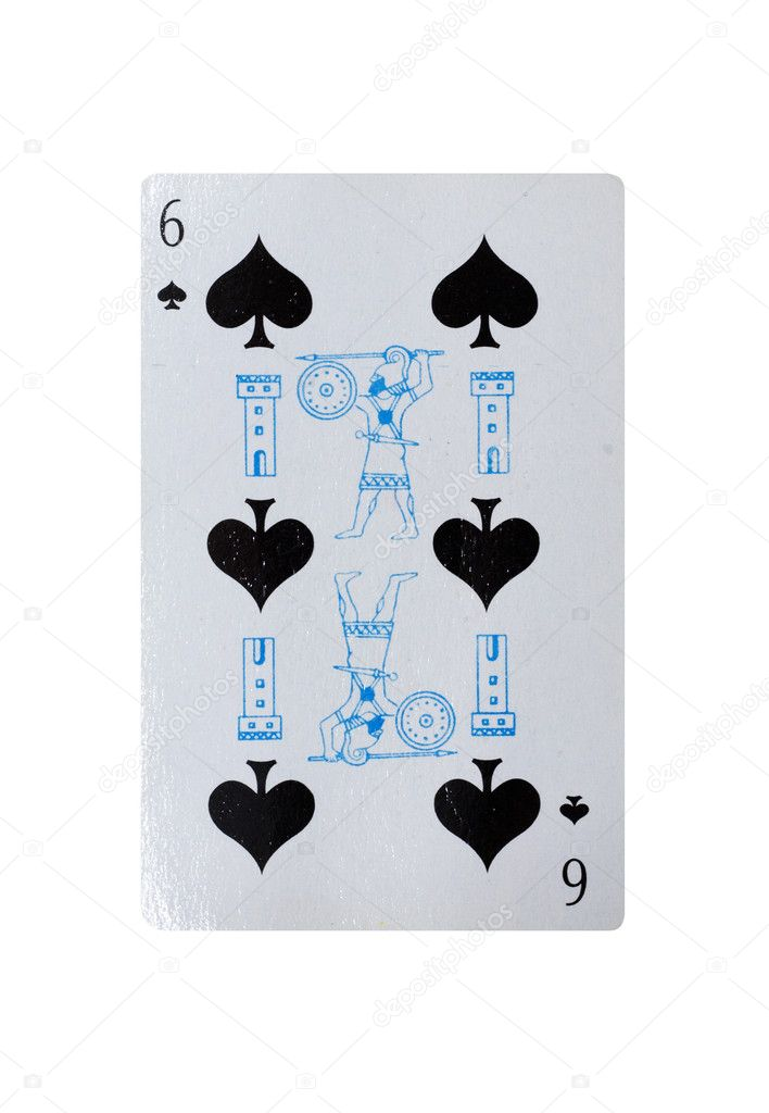 Six of clubs vintage playing card   Stock Photo #6874098