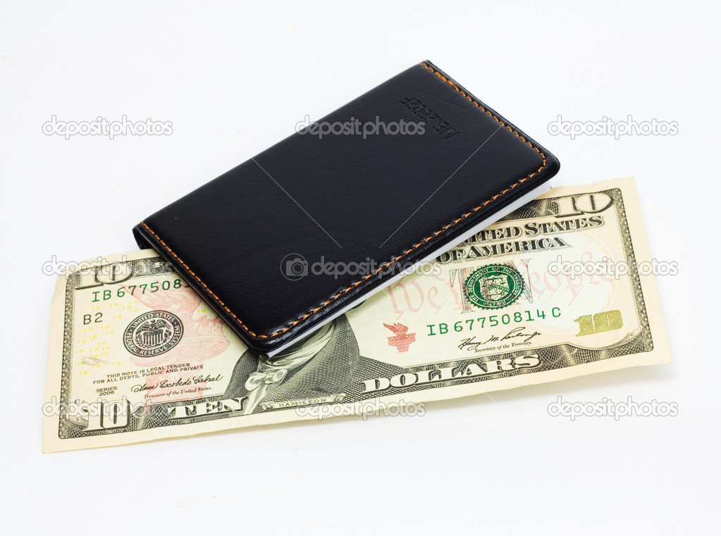 10 dollar bill US currency in an  purse.  — Stock Photo #6874155