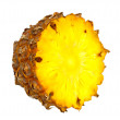 Fresh cross cut of ripe pineapple. Isolated on a white. — Stock Photo