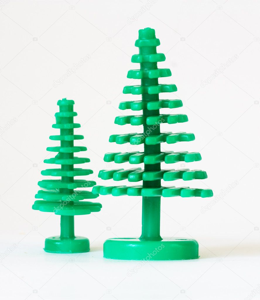 Two fir trees insulated on white background — Stock Photo #7483145