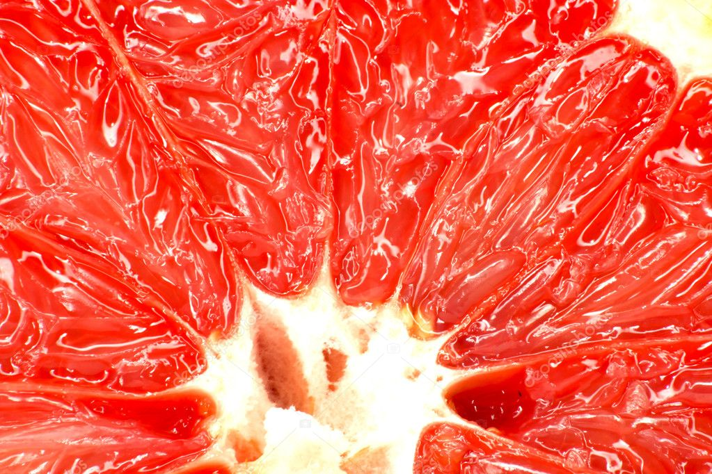 Red grapefruit close-up macro shot  — Stock Photo #7486588