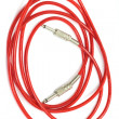 Electric guitar patch cable isolated on white - Stok fotoraf