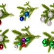 Firry twig and toys (color spheres). — Stock Photo