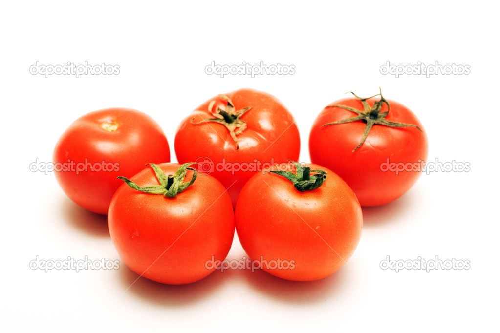 Tomatos isolated on white — Stock Photo #7595955