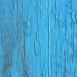 Closing on blue wooden panels of the fence - Stock Photo