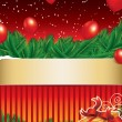 Christmas background with golden ribbon — Stock Vector #7887285