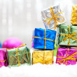 Christmas background with gifts — Stock Photo
