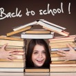 Teen girl with lot of books around, back to school — Stock Photo
