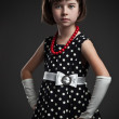 Standing elegant old-fashioned dressed little girl — Stock Photo