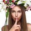 Beautiful woman with flower wreath — Stock Photo #7519148