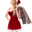Portrait of a Christmas woman in santa hat holding a shopping ba — Stock Photo #7927856