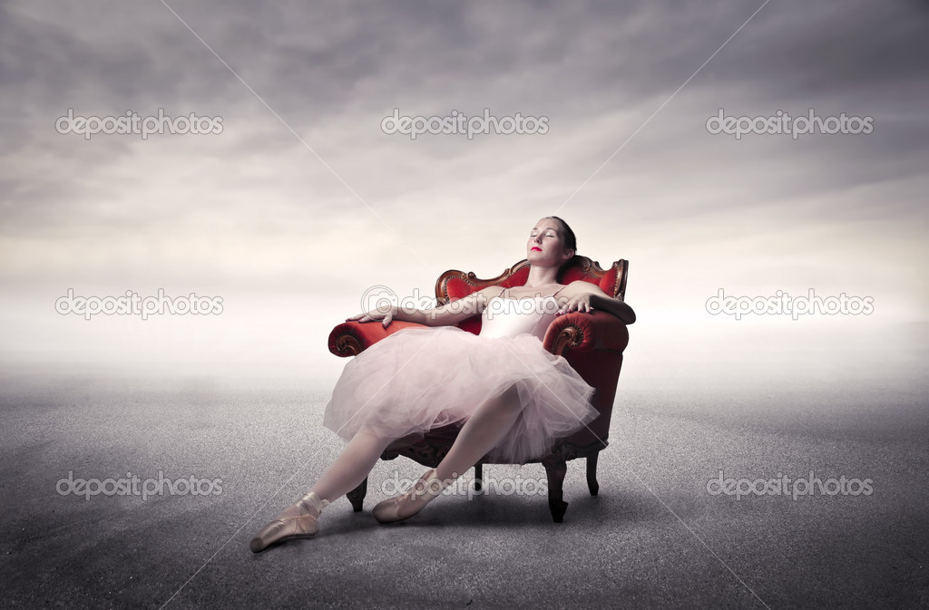 Ballerina resting after the rehearsals — Stock Photo #7260808