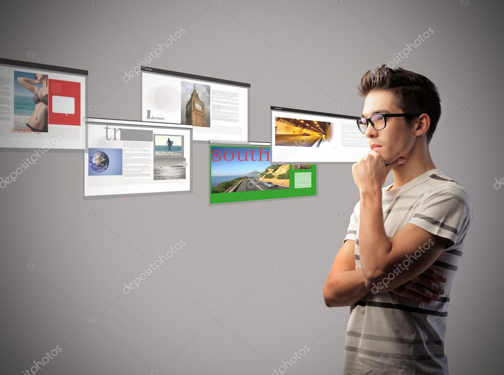 Young man with thoughtful expression and websites screenshots in the background — Stock Photo #7273132